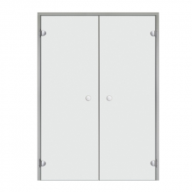 Дверь двойная с алюминиевой коробкой Harvia ALU 13х19 стекло прозрачное