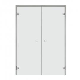 Дверь двойная с алюминиевой коробкой Harvia ALU 13х21 стекло прозрачное