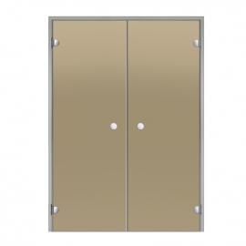 Дверь двойная с алюминиевой коробкой Harvia ALU 15х21 бронза