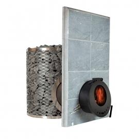 Печь-каменка дровяная для бани и сауны IKI-SL со стеклянной дверцей (сквозь стену)