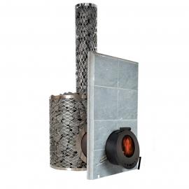 Печь-каменка дровяная для бани и сауны IKI-SL Plus со стеклянной дверцей (сквозь стену)