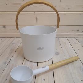 Набор SIMPLE WHITE шайка 5л + черпак 42см (ручки бамбук)