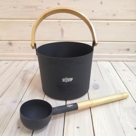 Набор SIMPLE BLACK шайка 5л + черпак 42см (ручки бамбук)