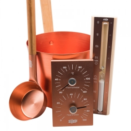 Набор OXY-M GOLD ушат 5л + черпак 33см (ручки бамбук) + термогигрометр +песочные часы (белый песок) (ЗОЛОТОЙ)