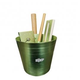 Набор OXY-M GREEN ушат 5л + черпак 33см (ручки бамбук) + термогигрометр +песочные часы (белый песок) (ЗЕЛЁНЫЙ)