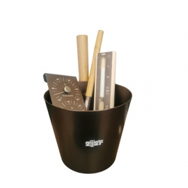 Набор OXY-M BLACK-GOLD ушат 5л + черпак 33см (ручки бамбук) + термогигрометр +песочные часы (белый песок) (ЧЕРНО-ЗОЛОТОЙ)