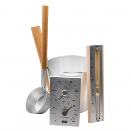 Набор OXY-M ALUM ушат 5л + черпак 33см (ручки бамбук) + термогигрометр +песочные часы (белый песок) (МАТОВАЯ СТАЛЬ)
