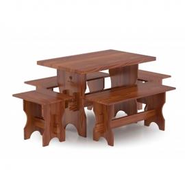 Комплект мебели (стол, скамейки) - 4 чел., лиственница мореная. BentWood