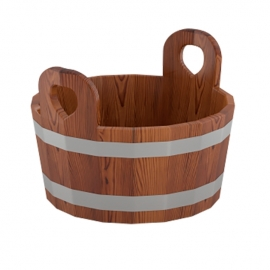 Шайка для бани 15 л d-0,41 h-0,30, лиственница мореная. BentWood