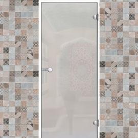Дверь с алюминиевой коробкой Harvia ALU 9x19 коробка белая, стекло сатин