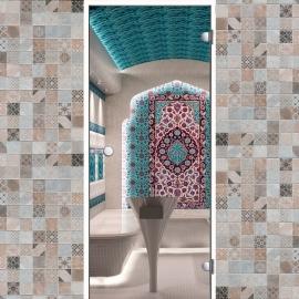 Дверь с алюминиевой коробкой Harvia ALU 9x21, коробка белая, стекло прозрачное