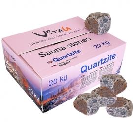 Камни для бани и сауны. Quartzite (Кварцит, 20 кг, коробка, обвалованный, мытый). VITAU