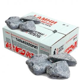 Камни для бани и сауны. Талькохлорит (20 кг, коробка, обвалованный, мытый). Огненный Камень.