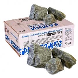 Камни для бани и сауны. Порфирит (20 кг, коробка, обвалованный, мытый). Огненный Камень.