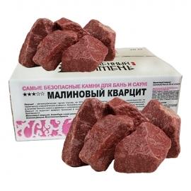 Камни для бани и сауны. Кварцит малиновый (20 кг, коробка, обвалованный, мытый). Огненный Камень.