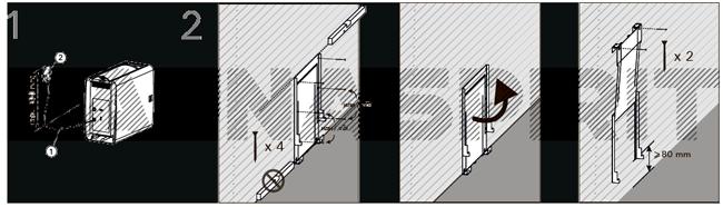 Крепление настенного кронштейна печи-каменки электрической Harvia The Wall SW45